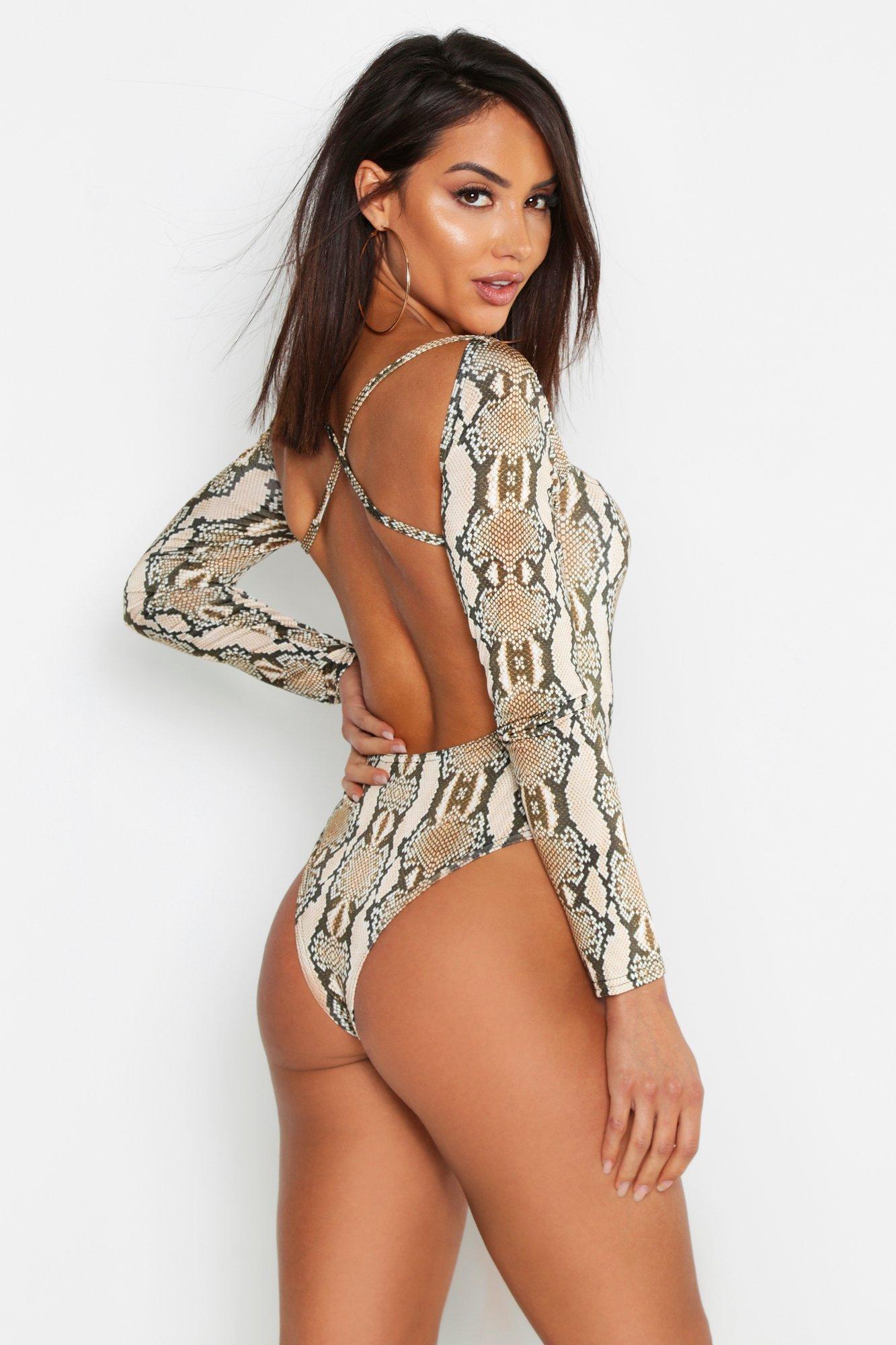 Womens Snake Print Square Neck Bodysuit - mocha - 36, Mocha - Boohoo.com