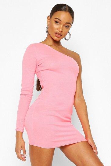 Hot pink Neon Rib One Shoulder Bodycon dress