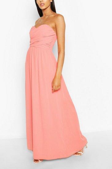 Coral Chiffon Bandeau Maxi Bridesmaid Dress