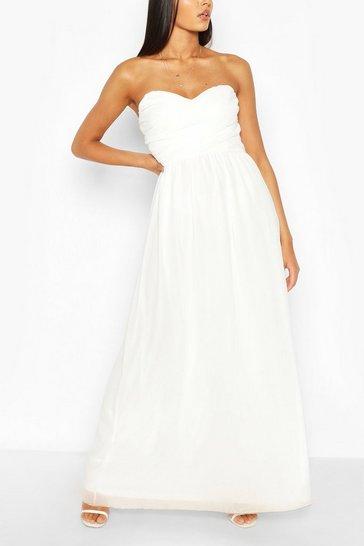 White Chiffon Bandeau Maxi Bridesmaid Dress