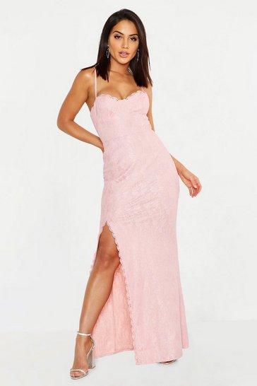 Blush Lace Sweetheart Neck Maxi Bridesmaid Dress