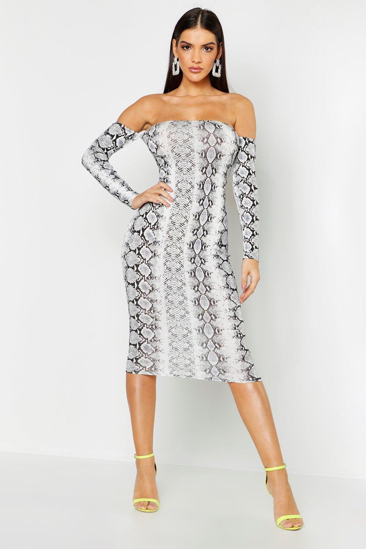 Купить Dresses, Snake Print Off The Shoulder Midi Dress, boohoo