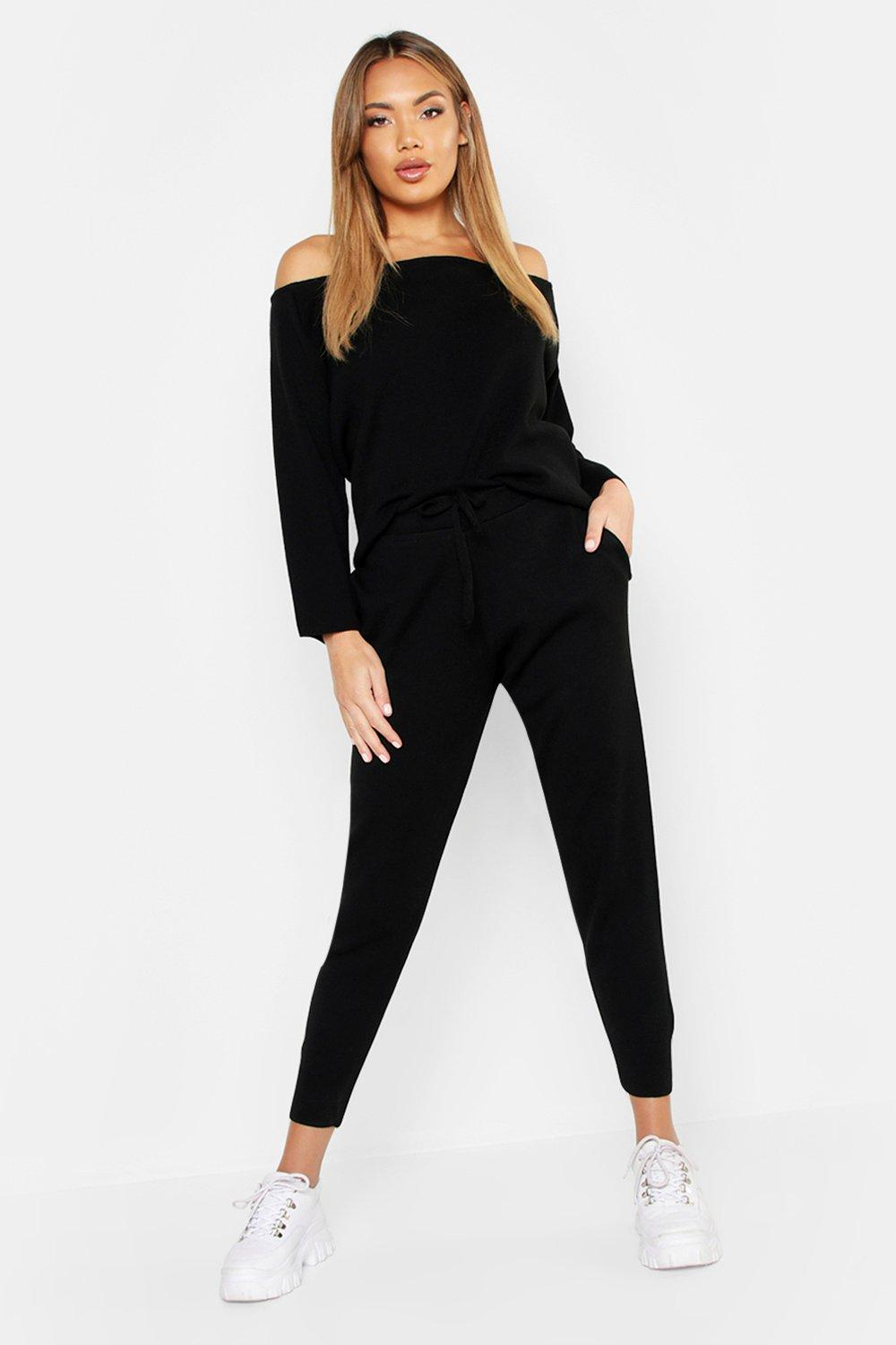 Womens Bardot Knitted Lounge Set - black - S, Black - Boohoo.com