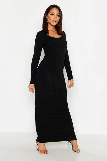 Black Long Sleeve Scoop Neck Ribbed Maxi Dress
