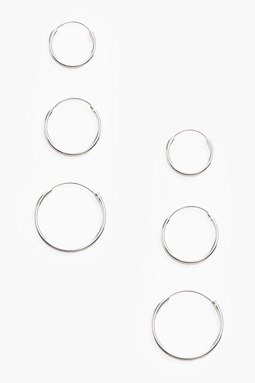 Купить Ювелирные украшения, Набор: тройные серьги-кольца из серебра 925 пробы, boohoo