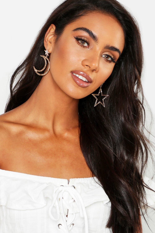 boohoo Womens Star And Moon Statement Earrings - Metallics - One Size, Metallics