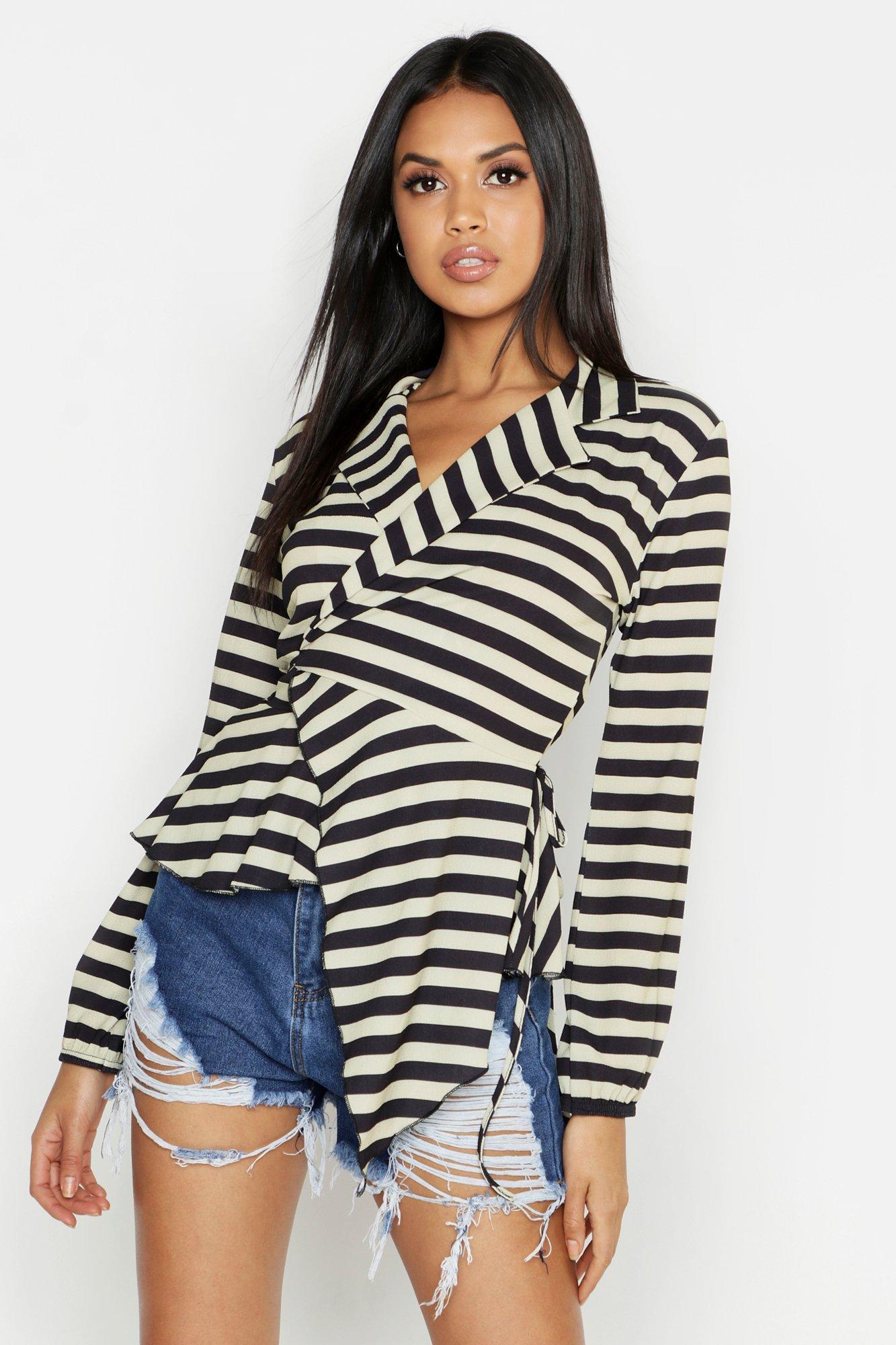 Купить Tops, Блуза на запах с длинными рукавами и оборками с вертикальными полосками, boohoo