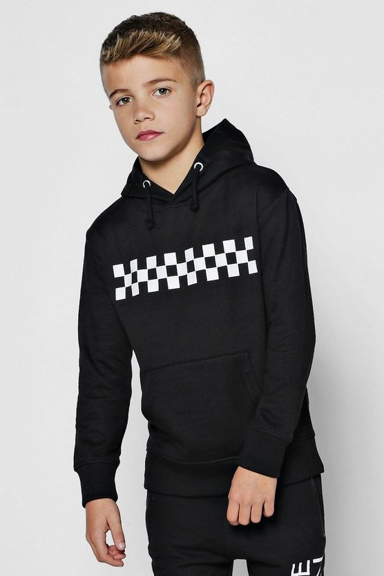 Boys Checkerboard Panel Hoodie