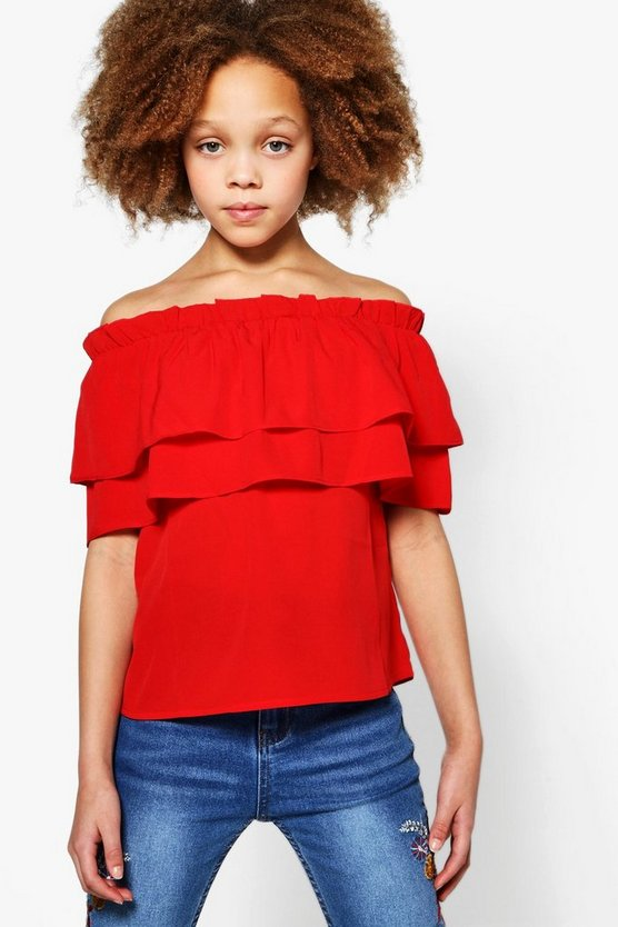 Girls Double Frill Bardot Top