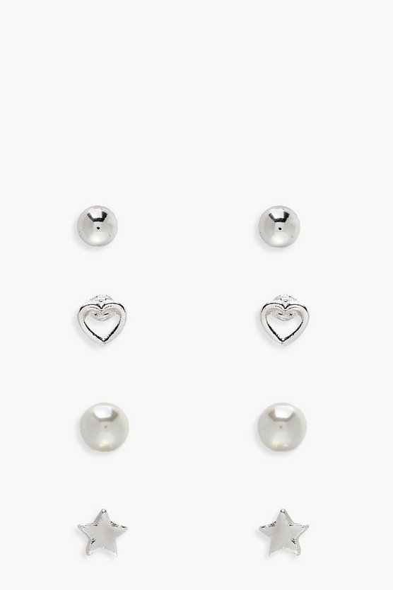 Girls 4 Pack Stud Earrings