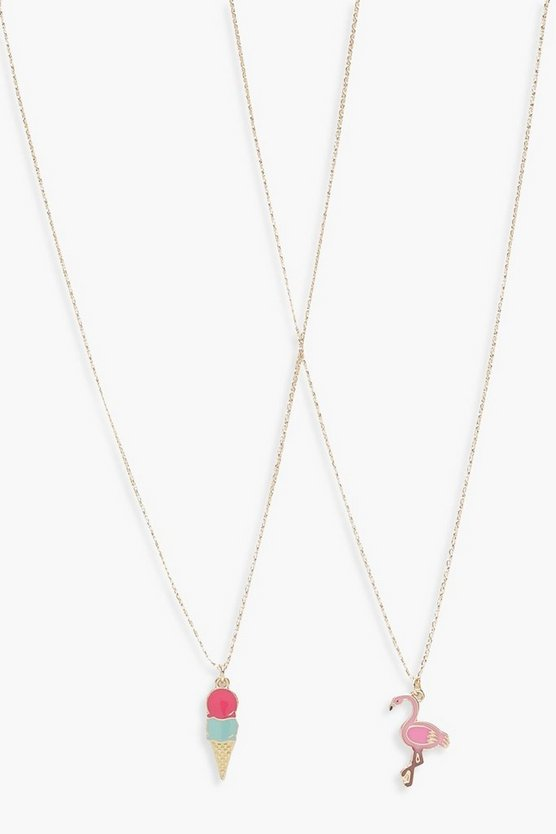 Girls 2 Pack Flamingo Necklace Set