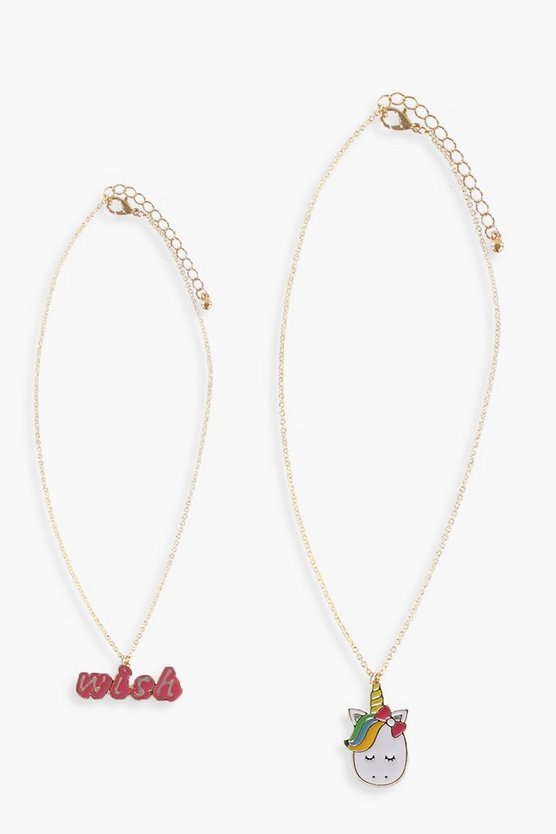 Girls Unicorn 2 Pack Necklace Set