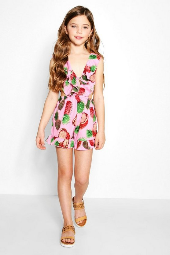 Girls Pineapple Ruffle Cut Out Playsuit