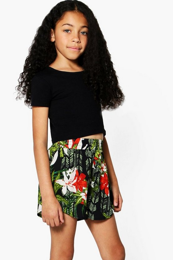 Girls Tropical Print Runner Short