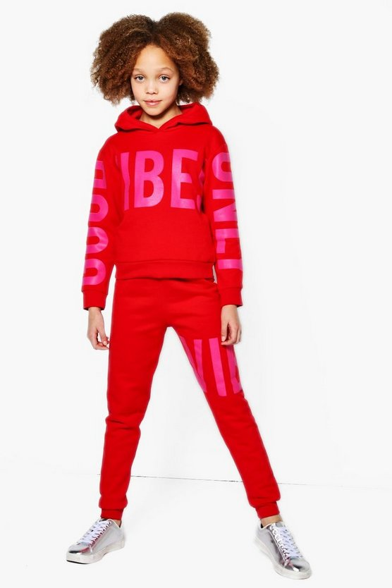 Girls Good Vibes Printed Tracksuit Set
