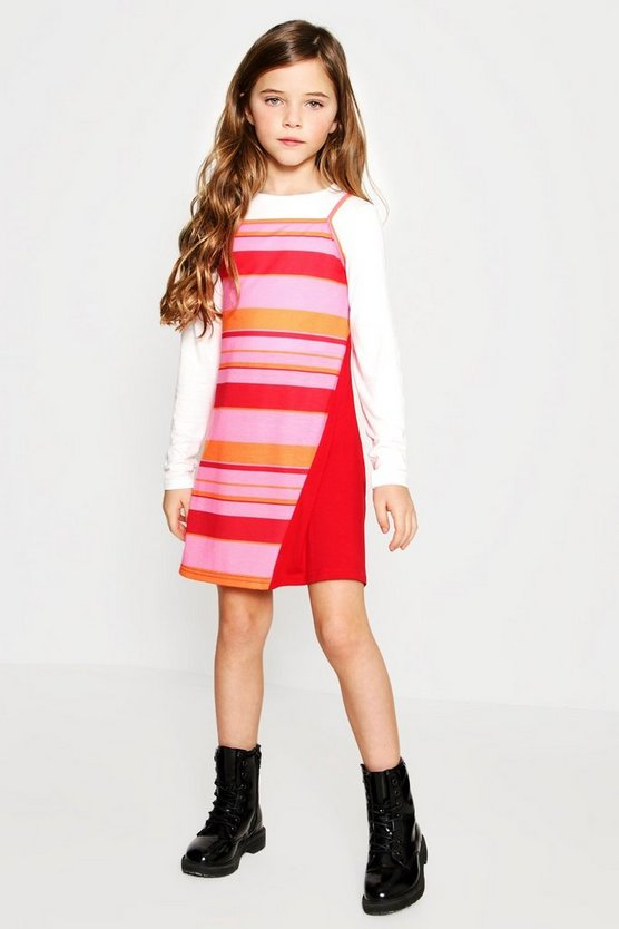 Girls Two Piece Colour Block Dress