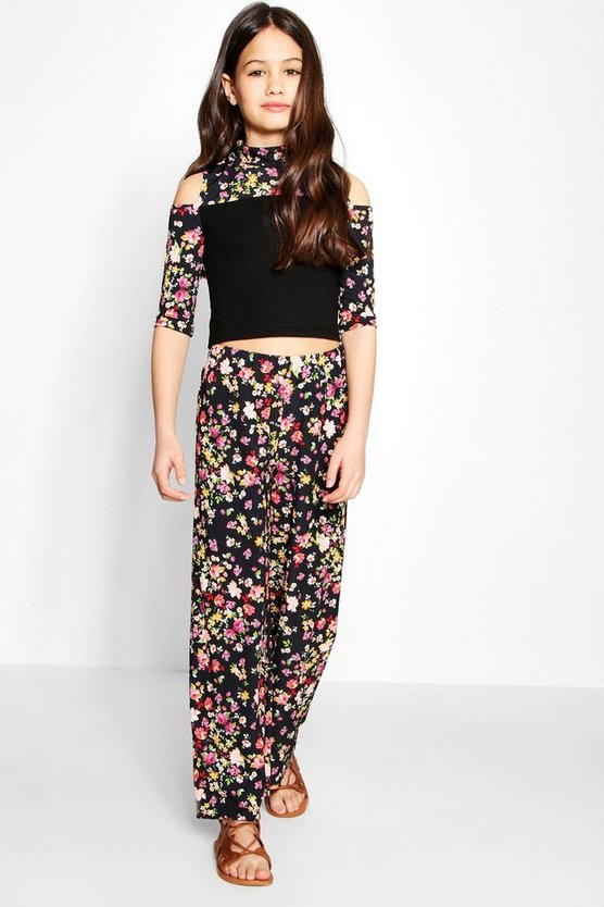Girls Floral Cold Shoulder & Wide Leg Co-ord