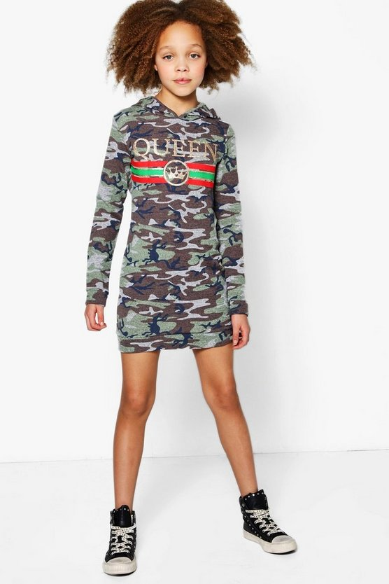 Girls Knitted Camo Queen Hooded Dress