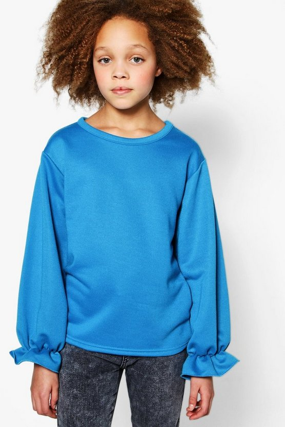 Girls Frill Sleeve Sweat Top