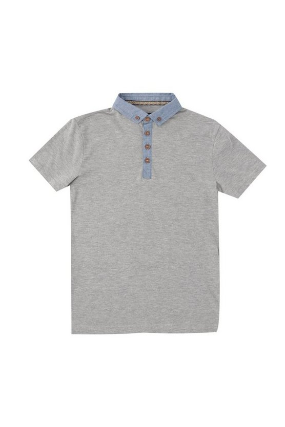 Boys Polo Top With Chambray Collar