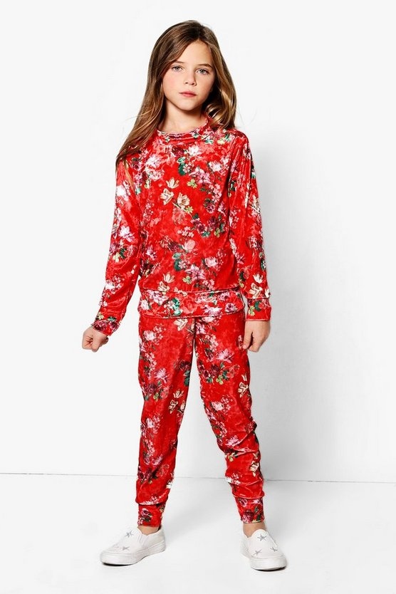 Girls Oriental Printed Velour Jogger Set