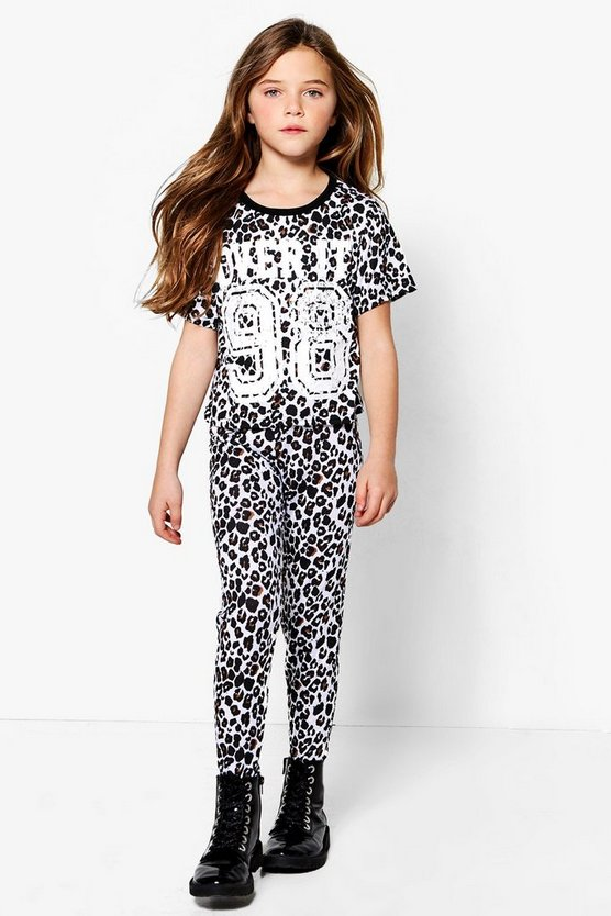 Girls Leopard Crop Top & Legging Sports Set