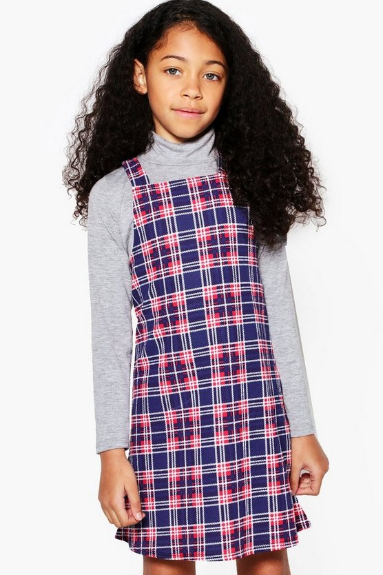 Girls Check Pinny Dress