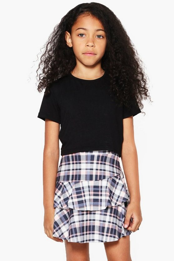 Girls Check Ruffle Mini Skirt
