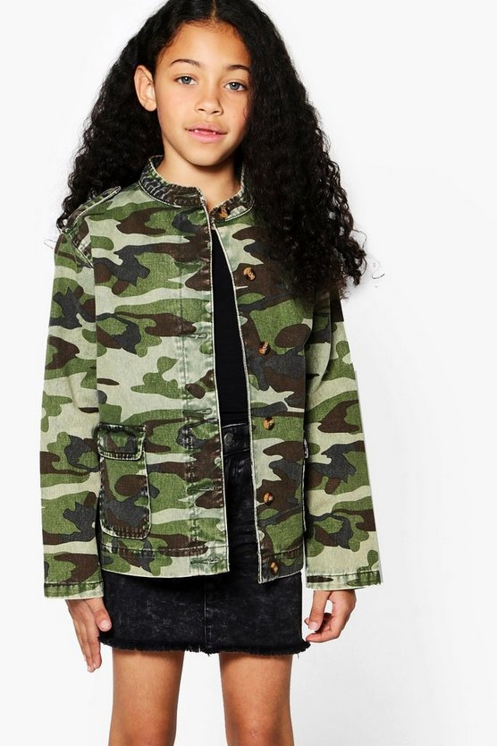 Girls Camo Jacket With Hood