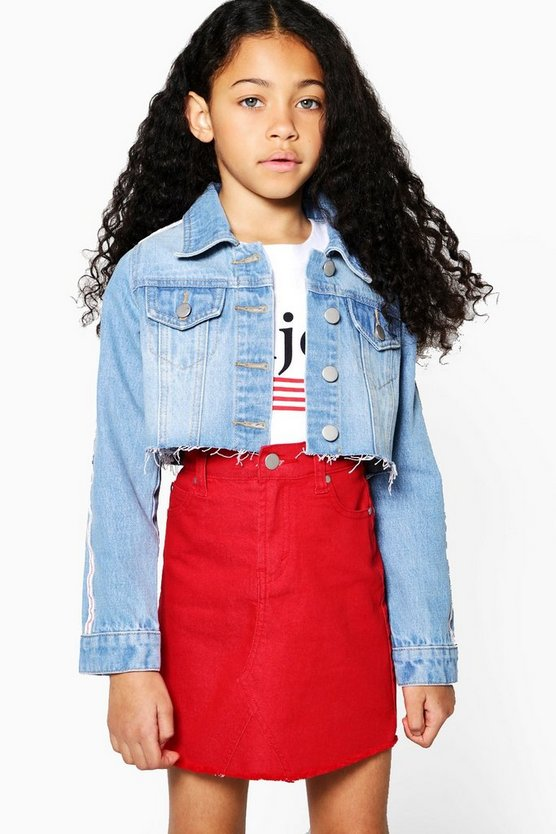 Girls Tape Cropped Denim Jacket