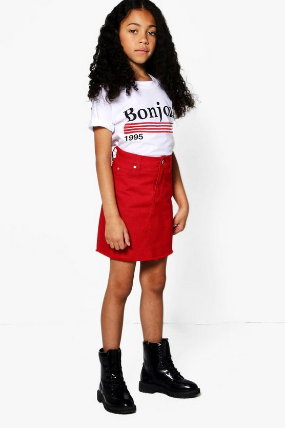 Girls Denim Mini Skirt