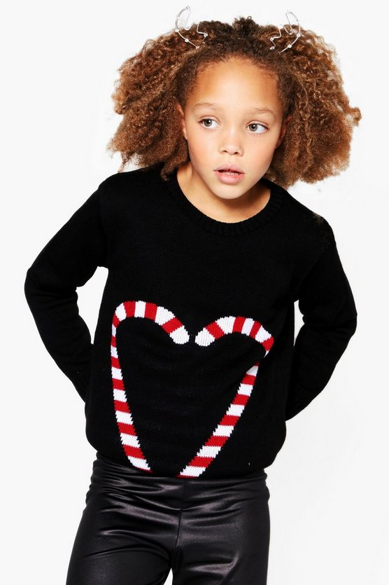 Girls Candy Heart Christmas Jumper