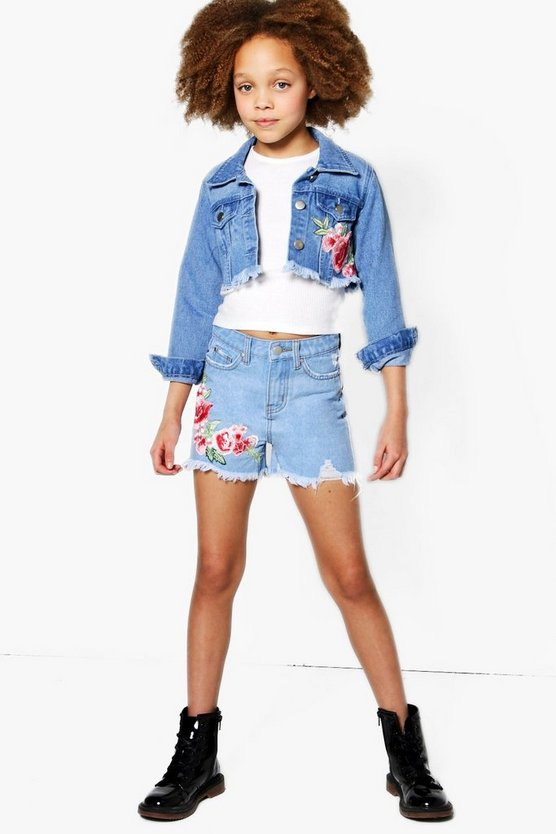 Girls Oriental Floral Distressed Shorts
