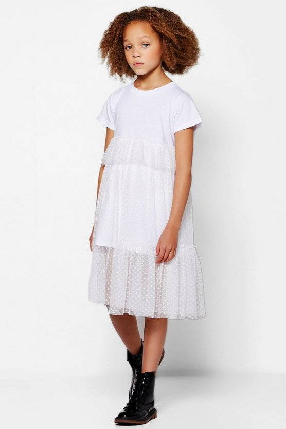 Girls Mesh Lace Frill Tee Dress