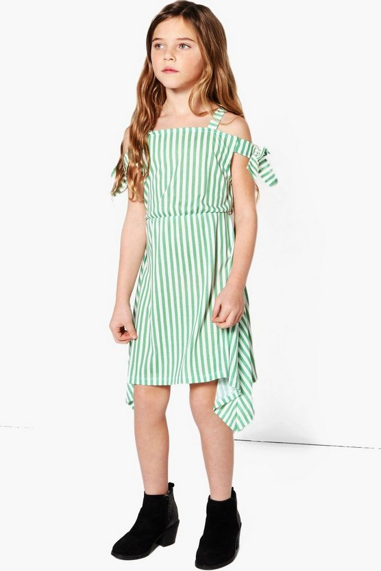 Girls Stripe Cold Shoulder Asymetric Dress