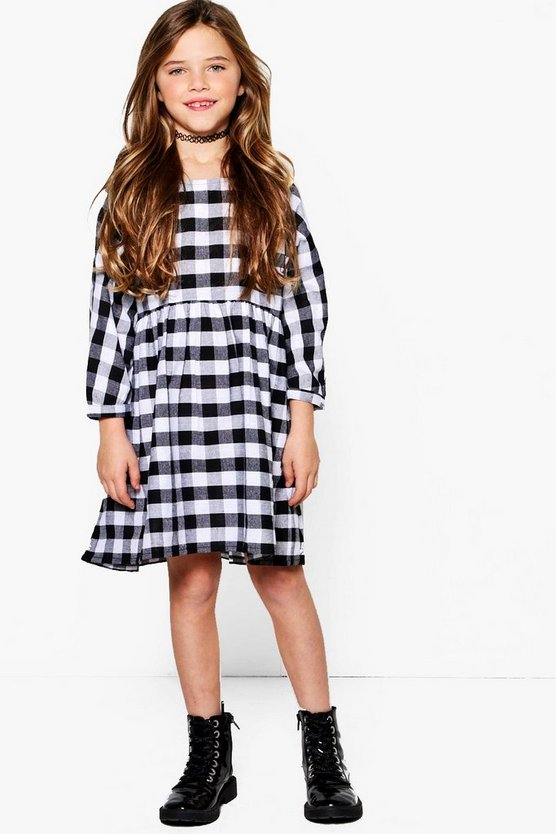 Girls Large Check Curved Waist Smock Dress