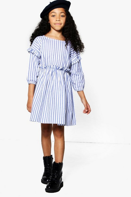 Girls Stripe Ruffle Waist Cotton Dress