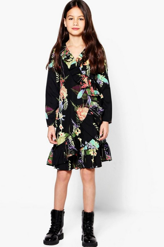 Girls Oriental Print Ruffle Tea Dress