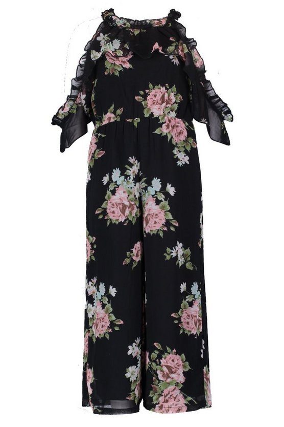 Girls Floral Cold Shoulder Culotte Jumpsuit