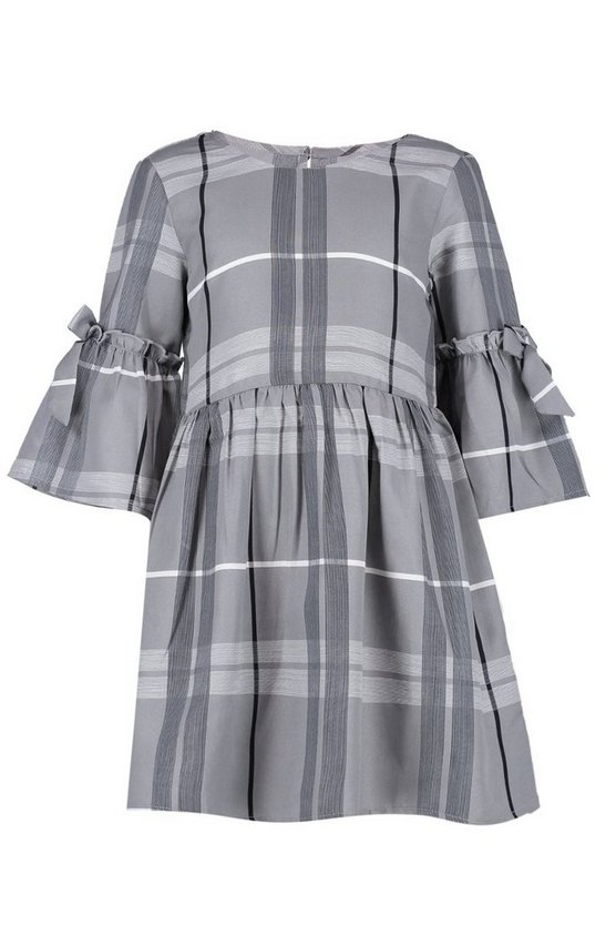 Girls Tie Sleeve Smock Dress