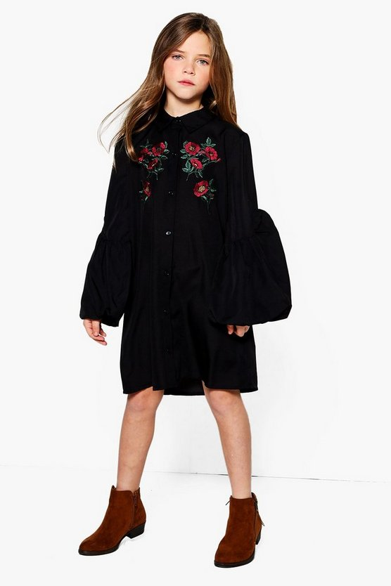 Girls Puff Sleeve Embroidered Shirt Dress