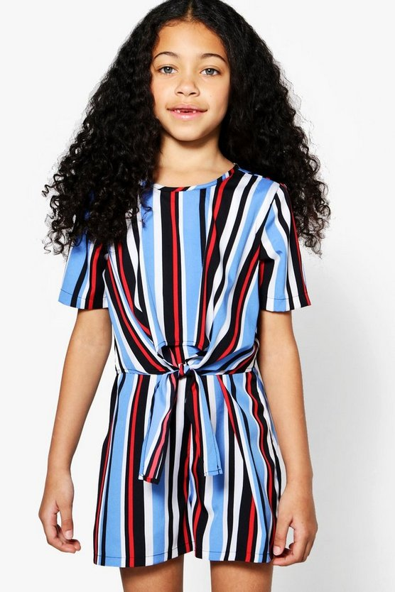 Girls Stripe Knot Front Playsut