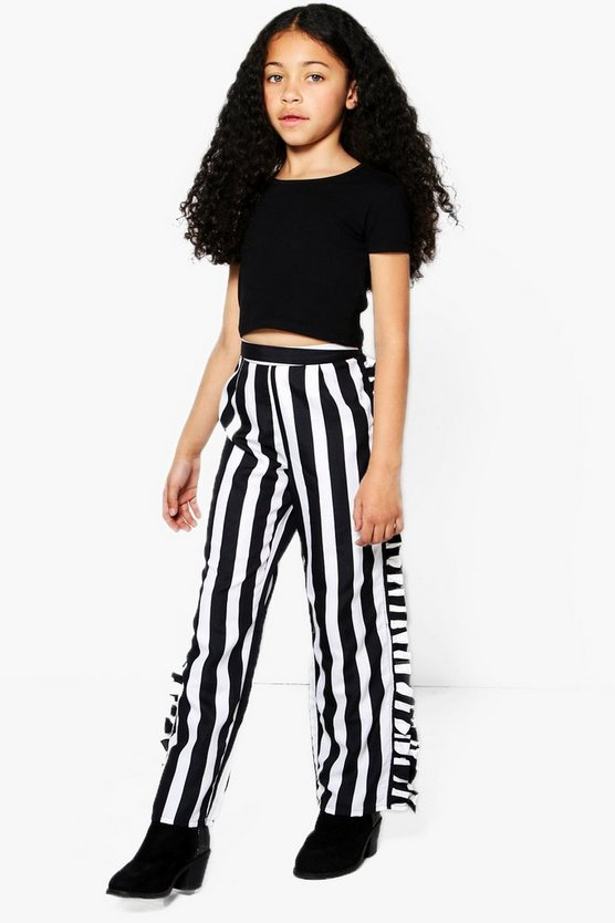 Girls Stripe Side Ruffle Trouser