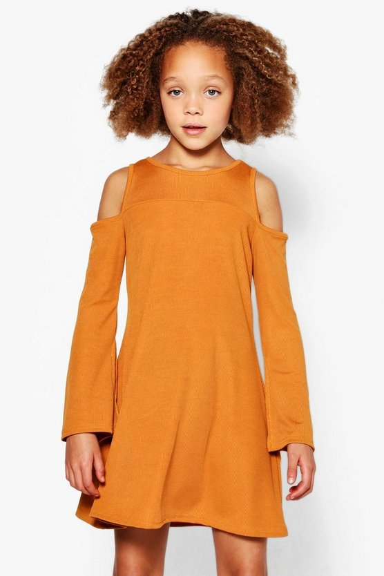 Girls Rip Sleeve Detail Swing Dress