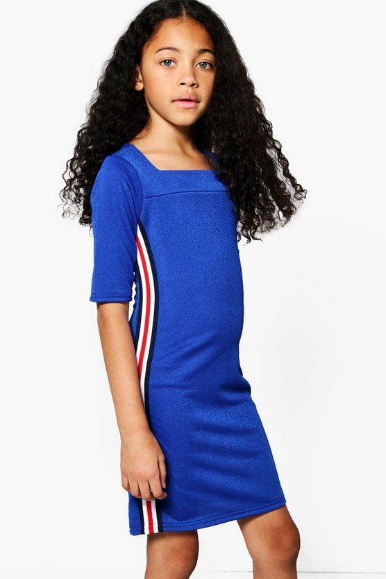 Girls Side Tape Square Neck Dress