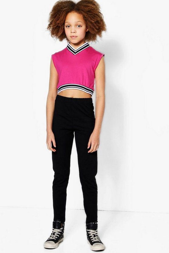 Girls V Neck Stripe Tape Crop Sports Set