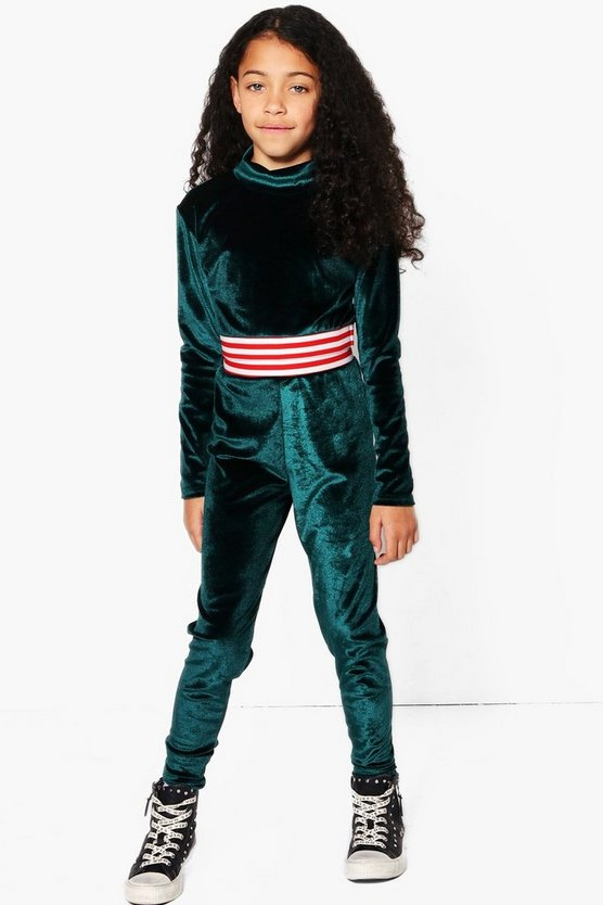 Girls Funnel Neck Tape Velour Jogger Set