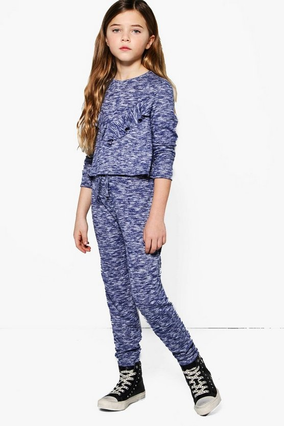 Girls Frill Knitted Jogger Set