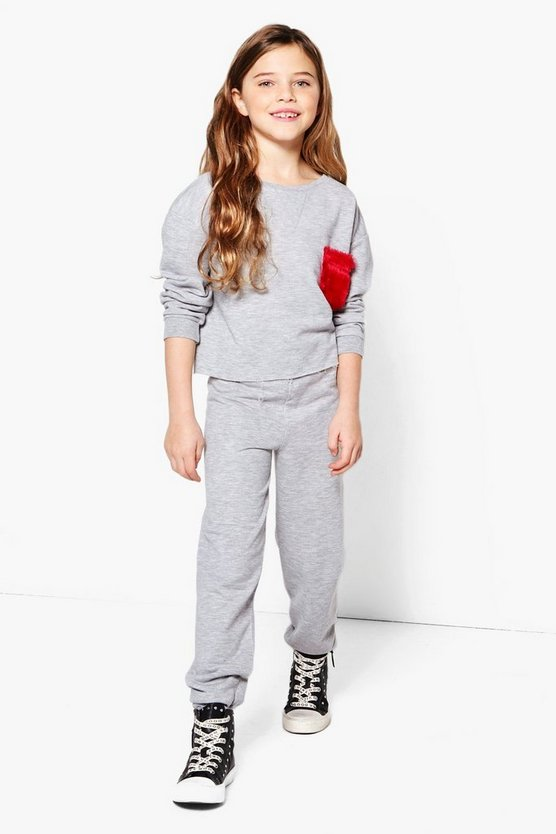Girls Faux Fur Pocket Top & Jogger Set