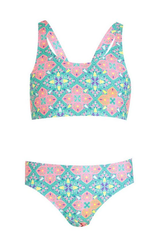Girls Tile Print Crop Bikini Set
